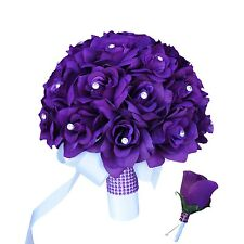 2pc Set: Bouquet and Boutonniere:Purple with rhinestone Bling