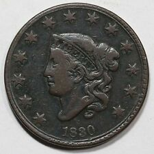 1830 N-1 Matron or Coronet Head Large Cent Coin 1c