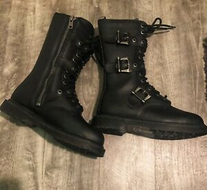 Demonia Boots Men Size 9 Bolt330 Blk Vegan Leather