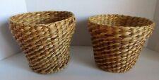 2 Wicker Rattan Plant Basket Round Woven Pot Holder Vintage 6