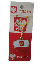 POLAND COUNTRY SHAPE FLAG WITH EAGLE METAL KEYCHAIN .. NEW