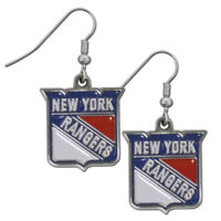New York Rangers Dangle Earrings (Chrome) NHL Licensed Hockey Jewelry