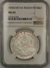 1850-CNB NA Russia 1 Rouble Silver Coin NGC MS-63 Semi PL *Scarce Condition*