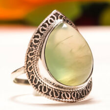 92.5 Sterling Silver Natural Prehnite Oval Cab Handmade Ring Size 8 Sb-193