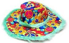 FUZZY GREEN PEACE SIGN WIDE BRIM HAT hippie party hats mens ladies head wear cap