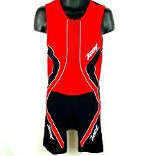 ZOOT - Men's Performance  Full Zip Tri Triathlon Tank Bodysuit -Red and Black XL