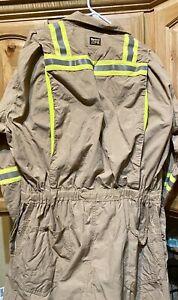Lightweight Vented Tan Hi Viz FR Coveralls 2112 Compliant Flag On Sleeve 54 RG