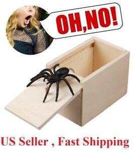 Scary Hidden Spider in a Box Prank Gag Toy Wooden Spoof Joke Halloween Prop Xmas