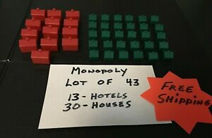 Monopoly Hotels And Houses LOT OF 43 Game Replacement Pieces FREE SHIPPING