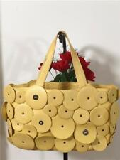 Cole Haan Melbourne Circle Round Spots Yellow Leather Dual Straps Shoulder Bag
