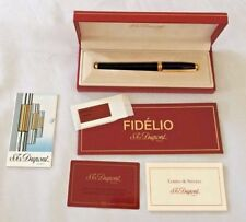 ST DUPONT Fidelio Black laquer and gold trim Fountain Pen 14k Fine Nib