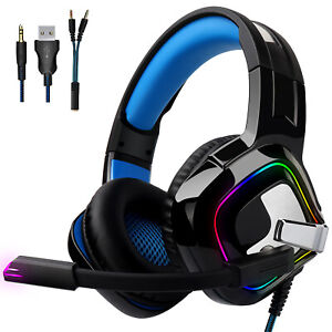 3.5mm Gaming Headphone Stereo PS4 LED Headset w/Mic For Xbox One Laptop PC Gamer
