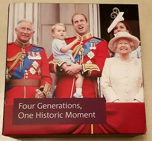 2018 4 GENERATIONS ROYALTY FIVE-OUNCE SILVER PROOF £10 COIN CASE & CERTIFICATE
