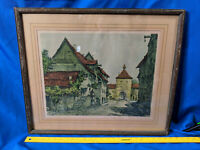 Antique Alexander Mantua Tyrol Woodblock Signed Print Art Wood Frame Glass VTG