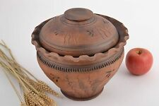 Homemade Designer Clay Pot For Roasting With Lid 3.5 L Average Size