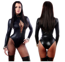Womens Wet Look Leather Long Sleeve Black Bodysuit Catsuit Bodycon Slim Leotard