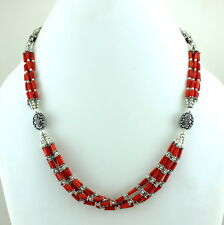 NATURAL RED FINE CORAL GEMSTONE BEADS BEAUTIFUL NECKLACE 38 GRAMS