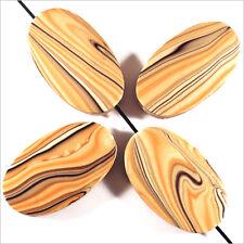 4 Perles en bois Ovales plates 20 x 30 mm Beige Décoré