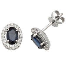 Sapphire White Gold Diamond Fine Earrings