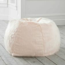 PB Teen Faux-Fur Bean Bag Chair Slipcover Large Silver Peony ALMOST N3W