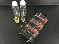 Karoff Golf Bag Liqour Decanter Set Shot Glasses Bottles Key Tartan Plaid VTG