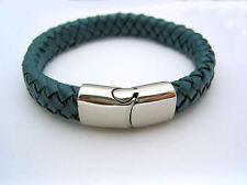 Mens Blue Leather Stainless Steel Bracelet Bangle Magnetic Clasp  * US Seller