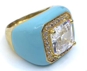 Kenneth Jay Lane Gold Turquoise Enamel Cushion Crystal Stone Dome Cocktail Ring