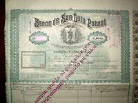 Banco de San Luis de Potosí one 100 Pesos share Mexico 1897