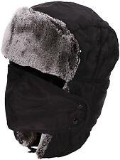 Black Unisex Men/Women Winter Trapper Warm Russian Ski Hat With Mask