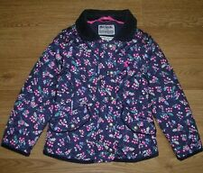 JOULES Girls Blue Floral Quilted Coat Jacket Age 3 98cm Immaculate