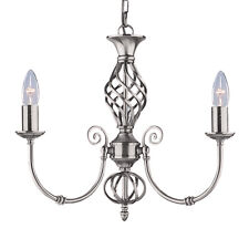 Searchlight 4489-3 Zanzibar Satin Silver 3 Light Fitting Ornate Twisted Column