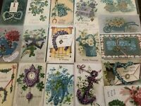 "~Lot of 18~ Pretty ~""Objects Shaped By Flowers""~Antique Greetings Postcards-a639"