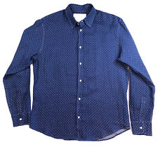 FRANK & EILEEN Mens Linen Button Down Shirt Blue w/ WhitePolka Dots Size Large