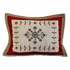 One Nostalgia Home Bukhara King Size Pillow Sham Quilted New Russet Blue