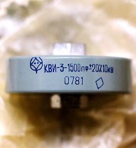 KVI-3 10kV 1500pF high voltage high frequency ceramic capacitor doorknob USSR