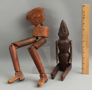 Antique Hand Carved Wood Folk Art Cone-Head Doll & 19thC Artists Model Legs NR