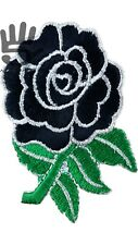 England Rugby English Rose Flower IronSew On Patch black green A159