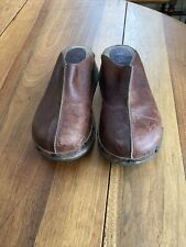 Vintage Mia Wooden Platform Leather Clogs Womens 8 - Made In Brazil
