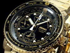 NEW MEN'S ALL GOLD SEIKO FLIGHTMASTER 200M ALARM CHRONOGRAPH WATCH SNA414P1