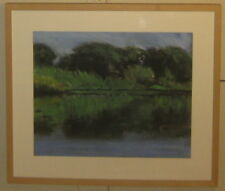 Original JOHN STOCKWELL 'Reflection Pond LANDSCAPE' Pastel Painting - LISTED