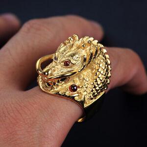 Men's Dragon Head Rings Stainless Steel Red CZ Eye Dragon Ring Haevy Biker Gold