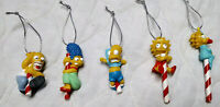 Vintage 1990s THE SIMPSONS Candy Cane Christmas Ornaments Set of 5- COMPLETE