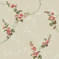 Wallpaper Traditional Open Floral Vine Pink Green on Pearl Pewter Background