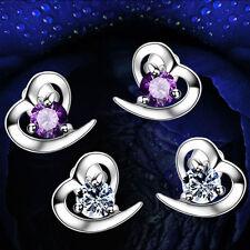 925 Sterling Silver Heart Stud Earrings Jewellery Womens Ladies Gifts New UK