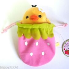 San-X Rilakkuma - Kiiroitori Plush in Strawberry Bag Japan Amusement Game Doll