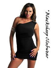 Nuevo Sexy de Fiesta para Mujer negro de un hombro vestido Mini Club Size UK 8 - 10