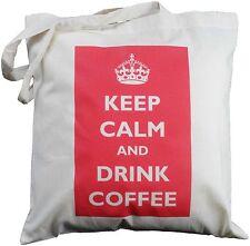Mantener la calma y beber café-algodón natural Bolso de Hombro-Largo manejado Tote