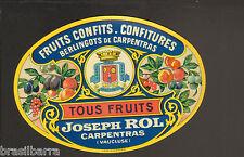 5 ETIQUETTES ANCIENNES : FRUITS CONFITS - CONFITURES Joseph Rol Carpentras