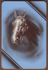 Playing Cards 1 Single Card Old Vintage * HORSE HEAD blue left * Art Portrait 3