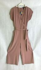 Dusty Pink Wrap Front New Look Jumpsuit UK 10